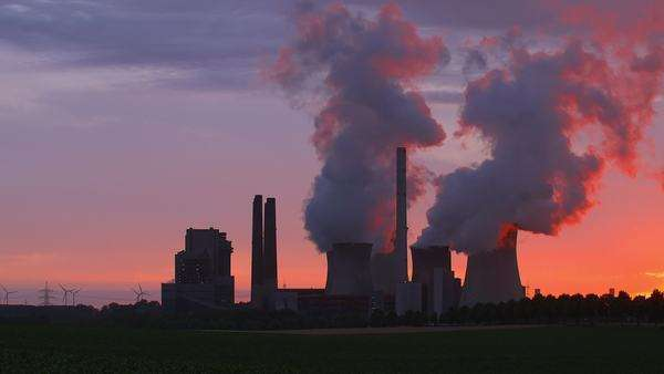 Coal-fired power plant, during sunset Royalty-free stock video