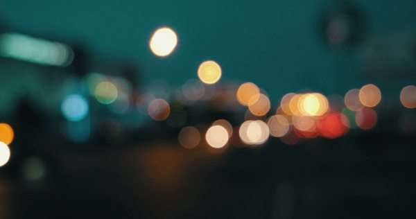Lights Defocused Blurred Street In The Night Royalty Free Stock Video