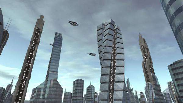 Fly through futuristic city with spaceships passing by. Royalty-free stock video