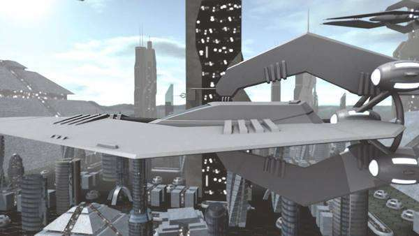 Animation of a futuristic spaceship flying above a city. Royalty-free stock video