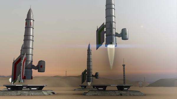 Animation of multiple rocket launches Royalty-free stock video
