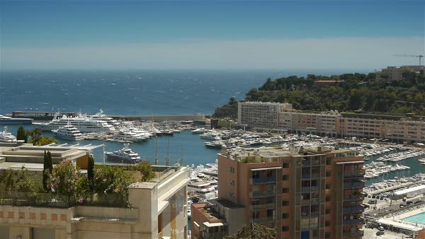 Bay and harbor at Monaco, Cote D'Azur France Royalty-free stock video