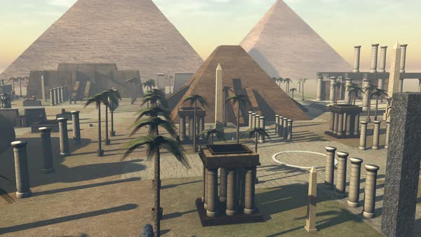 Animated ancient archeology of Egypt growing from the ground Royalty-free stock video