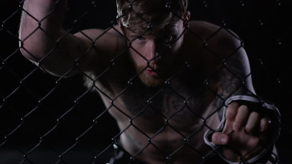 Muscular mixed martial arts fighter holding on to the fencing of the cage Royalty-free stock video