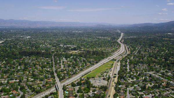 Aerial view of California road highway, freeway. Silicon Valley, San Francisco, California, United States of America. Royalty-free stock video