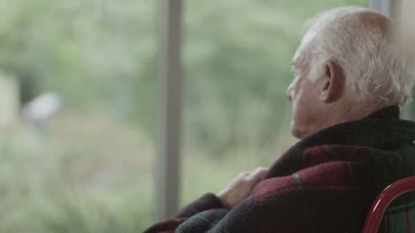 Portrait of lonely senior man in wheelchair sitting by the window Royalty-free stock video