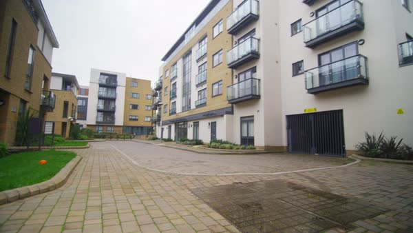 Exterior view of modern apartment blocks in a London Suburb Royalty-free stock video