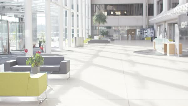 Interior view of large modern office building. No people. Royalty-free stock video