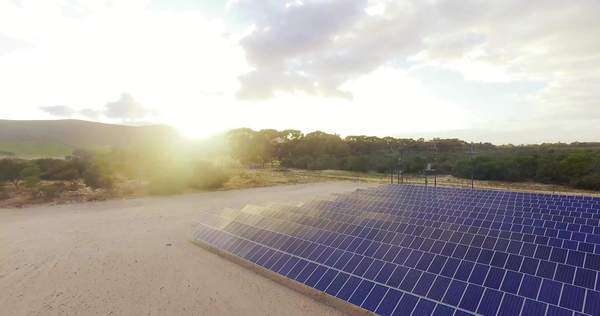 Wide shot of solar panels in a field Royalty-free stock video