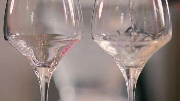 White wine being poured into two wine glasses by a wine waiter and couple clink glasses Royalty-free stock video
