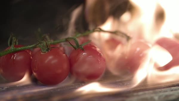 Close-up of juicy tomatoes on barbecue grill Royalty-free stock video