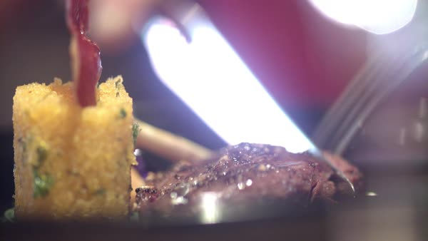 Hand-held shot of a person cutting meat with a knife and fork Royalty-free stock video