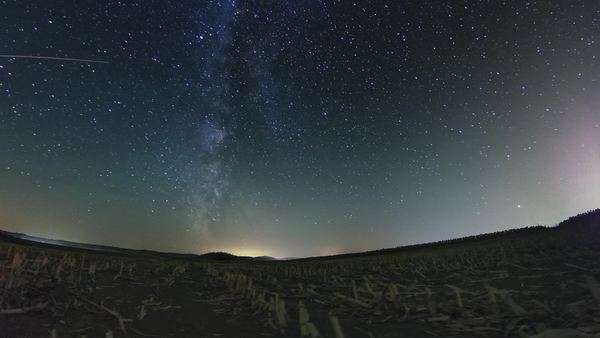 Milky Way astro timelapse on a harvested corn field in south Hungary Royalty-free stock video