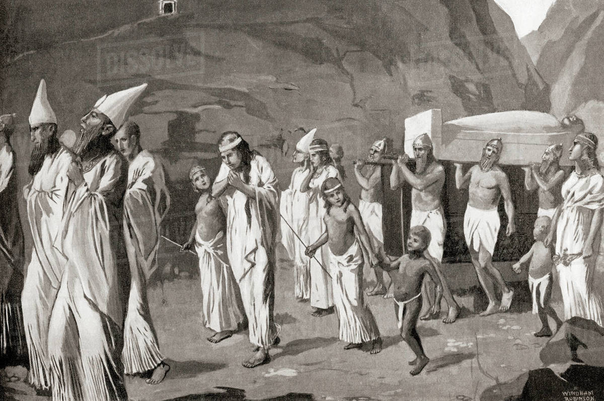 A Phoenician funeral procession. From Hutchinson's History of the Nations, published 1915.