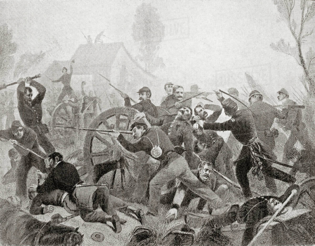 The Battle of Shiloh, aka the Battle of Pittsburg Landing,1862, a major  battle in the Western Theater of the American Civil War.