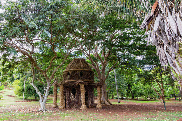 View of the Birthday Palace constructed with invasive plant species, McBride Garden; Poipu, Kauai, Hawaii, United States of America Royalty-free stock photo