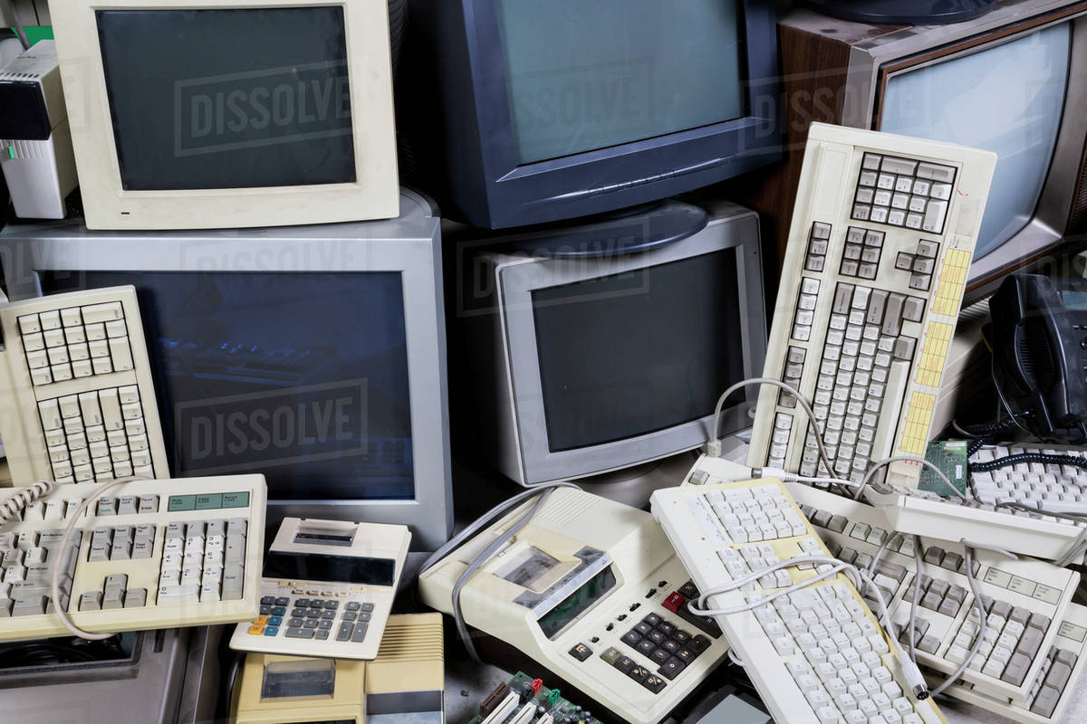 Used Computers Printers And Office Equipment For Recycling Old Electronics Circuit Board Royalty Free Stock Photo Image Edmonton Alberta Canada