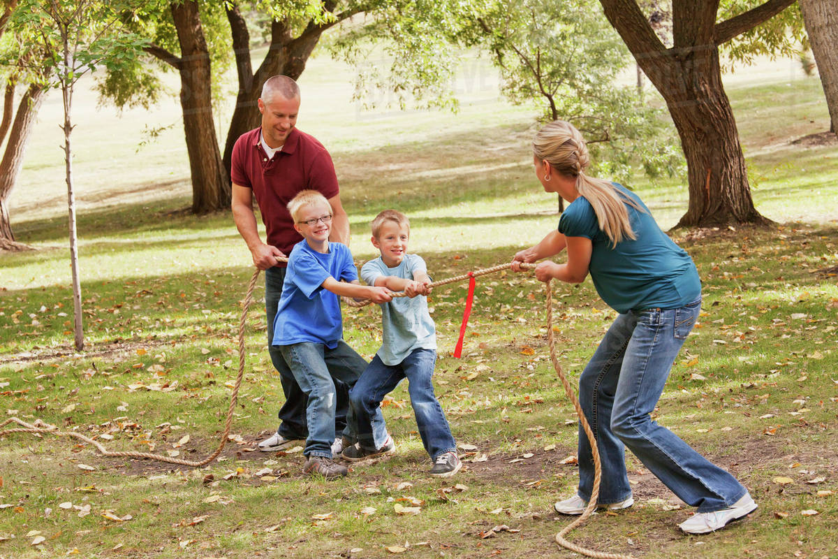 Mother Playing Tug Of War Against Husband And Sons Edmonton Alberta Canada