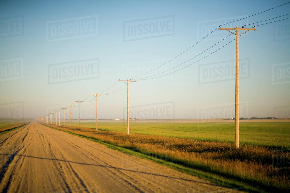 Gravelled Road At Sunset In Rural Saskatchewan, Canada Royalty-free stock photo