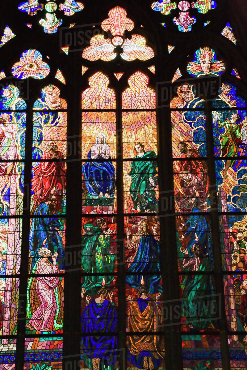 Stained Gl Window Inside The 14th Century Gothic Style Saint Vitus D869 35 477