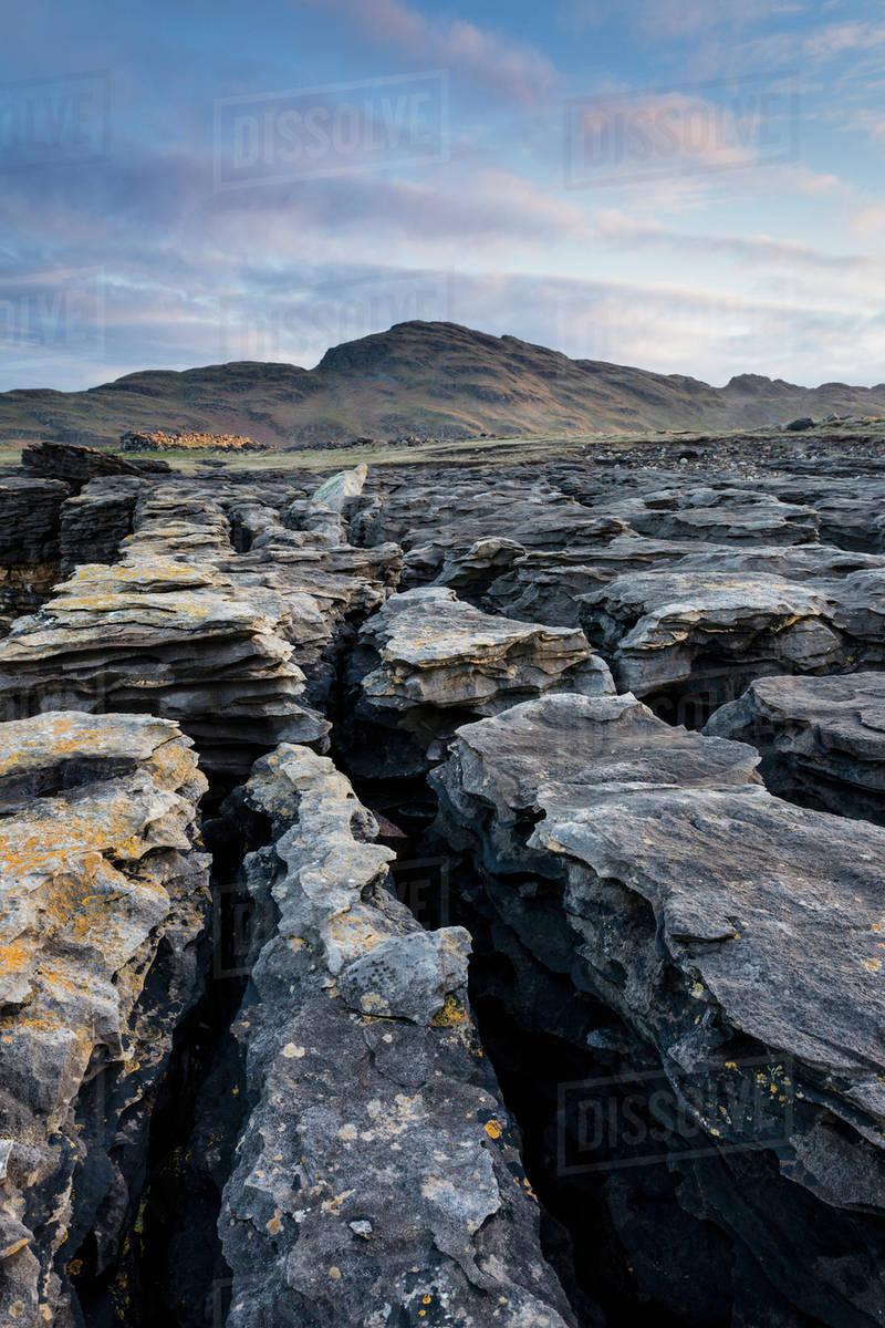 Limestone rock formations near muckross head near kilcar