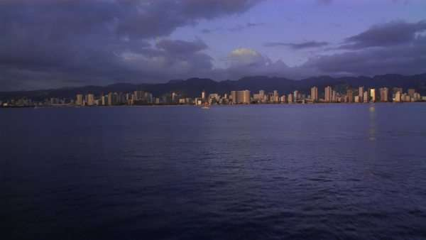 Aerial approaching Honolulu from the sea Rights-managed stock video