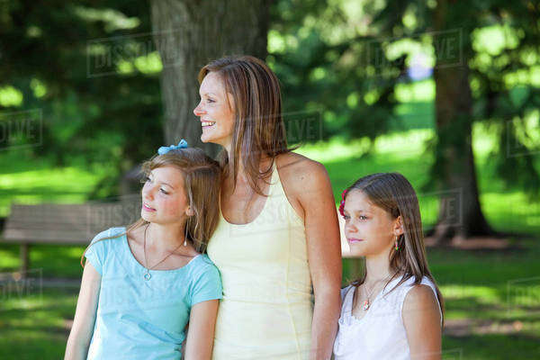 Mother With Daughters In The Park; Edmonton, Alberta, Canada Royalty-free stock photo
