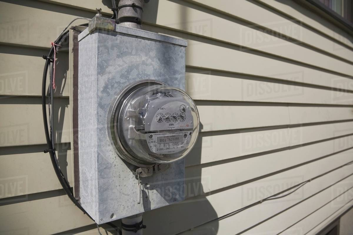 Laval Quebec Canada Hydro Electricity Consumption Meter On The Outside Wall Electrical Wiring Exterior Of A Residential Home