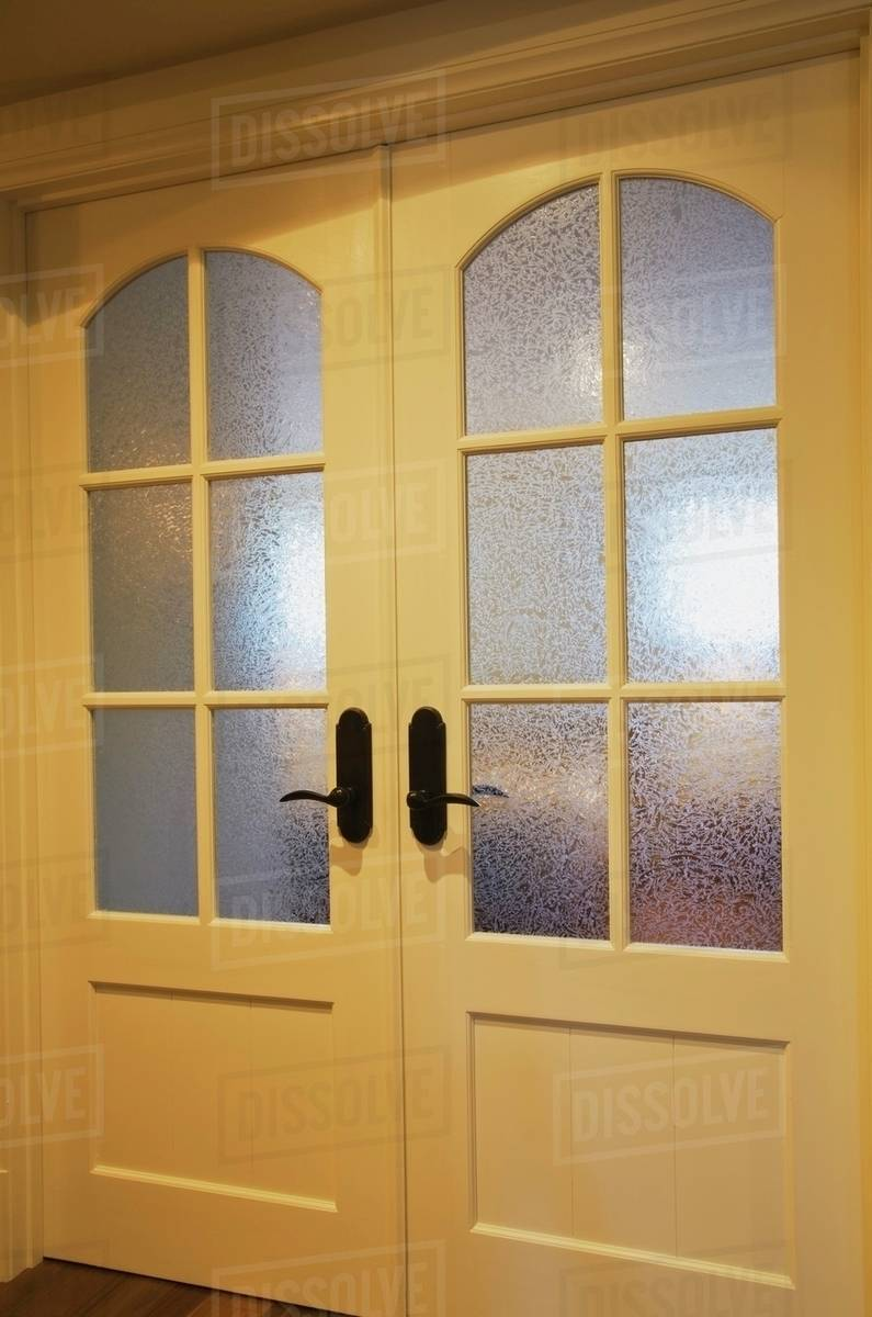 French Doors With Frosted Glass Panels In A Home Quebec Canada