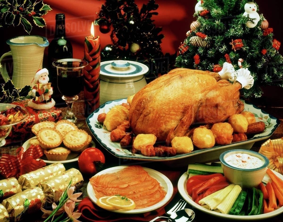 Free Christmas Dinner.Christmas Dinner Stock Photo