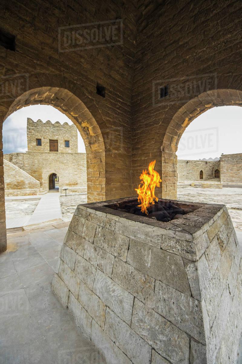 Central altar in the Ateshgah Temple or Fire Temple of Baku, a Hindu and  Zoroastrian place of worship; Surakhani, Baku, Azerbaijan - Stock Photo -  Dissolve