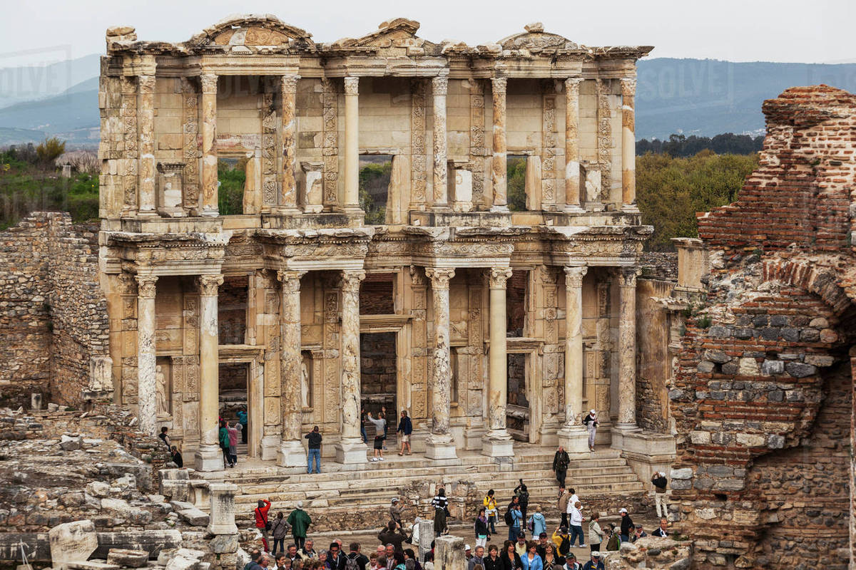 Tourists At The Ruins Of Celsus Library Ephesus Izmir Turkey Stock Photo Dissolve