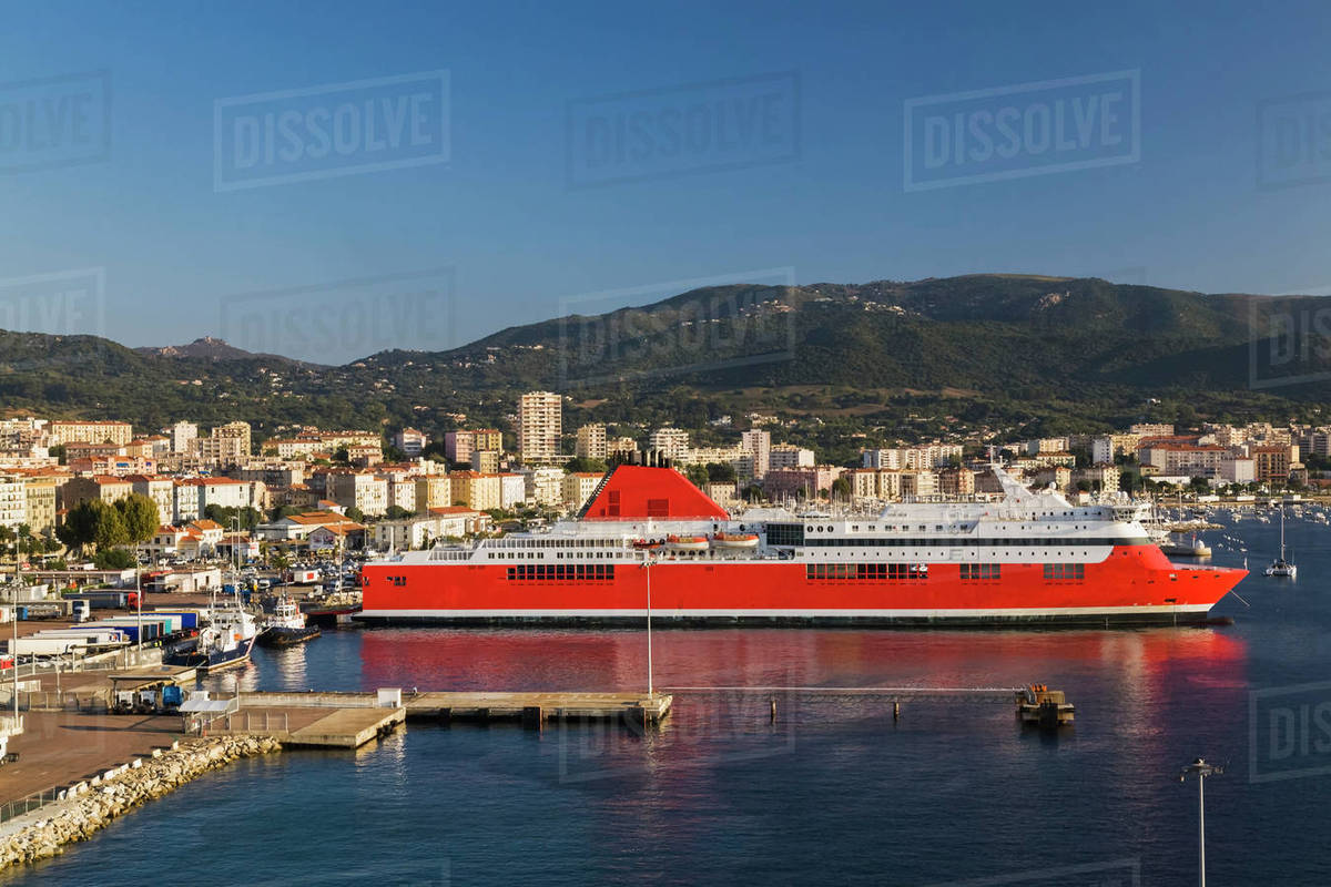 Ajaccio skyline and port infrastructure with moored ferry boat ajaccio skyline and port infrastructure with moored ferry boat ajaccio corsica island france sciox Images