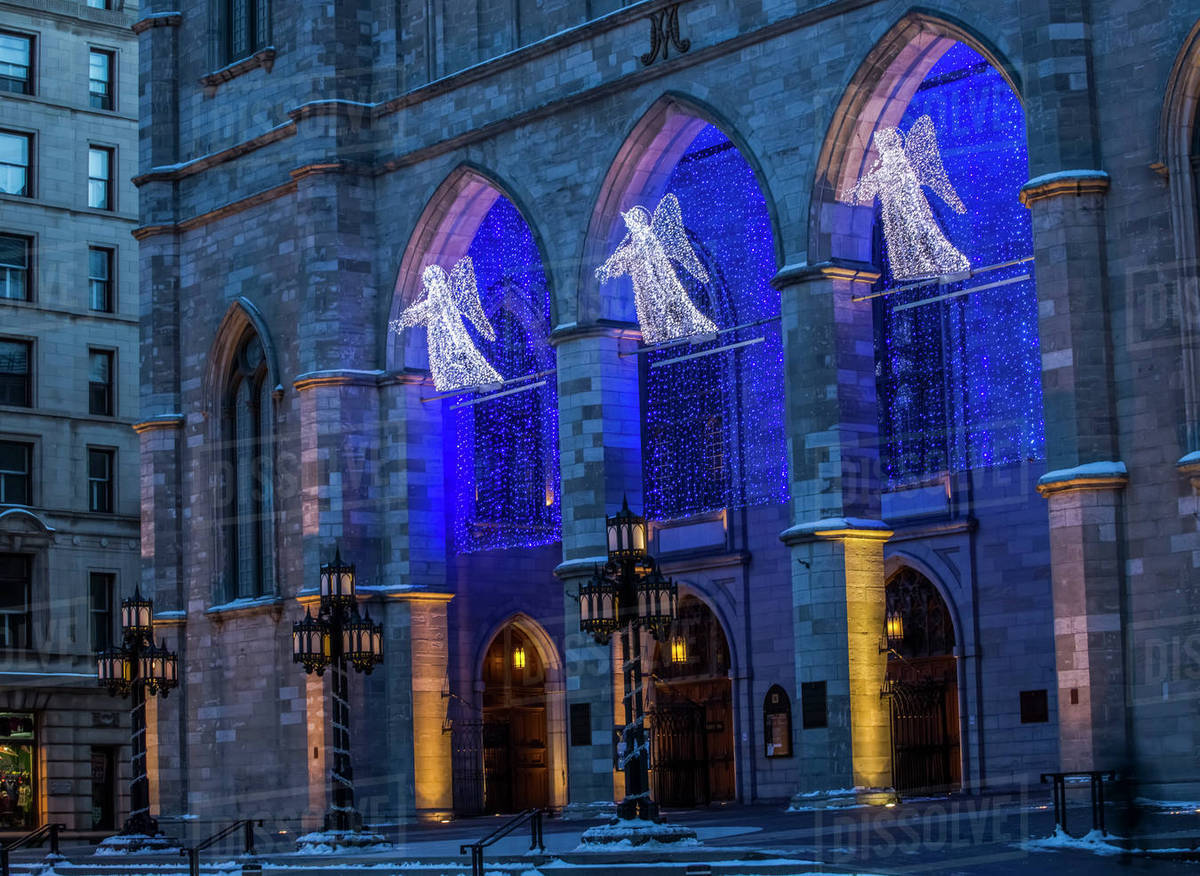 Christmas angels and blue lights at Notre Dame cathedral; Montreal ...