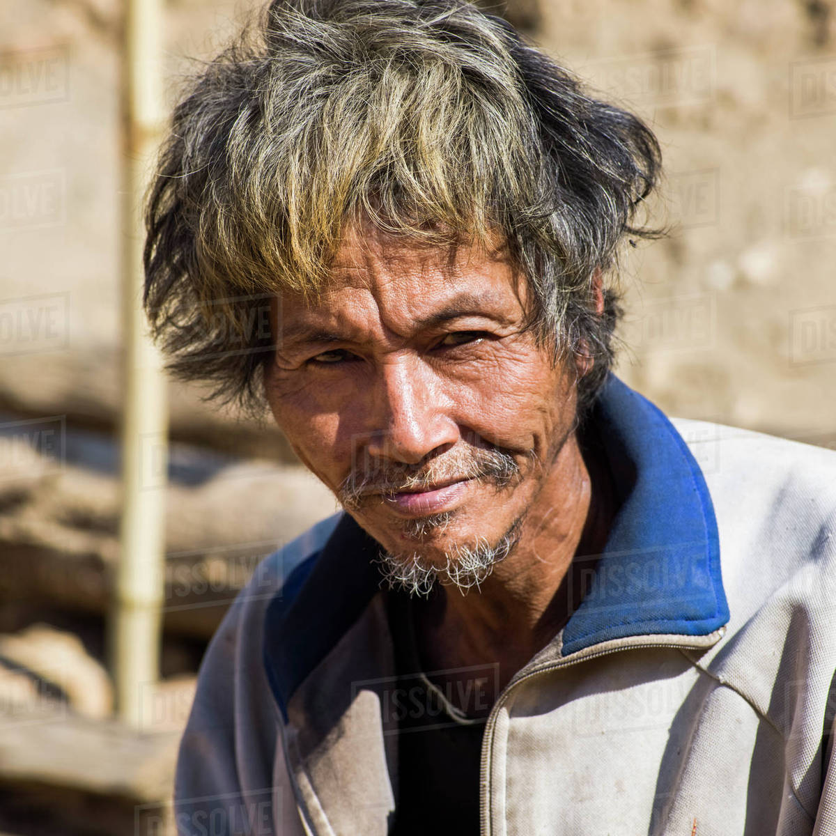 Portrait Of A Thai Man With Disheveled Hair Tambon Po Chang Wat
