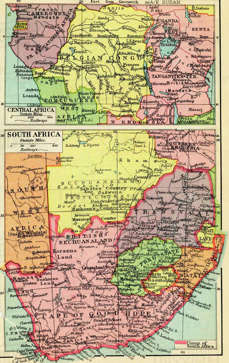 A 1930\'s map of central Africa, top and south Africa, bottom. stock photo