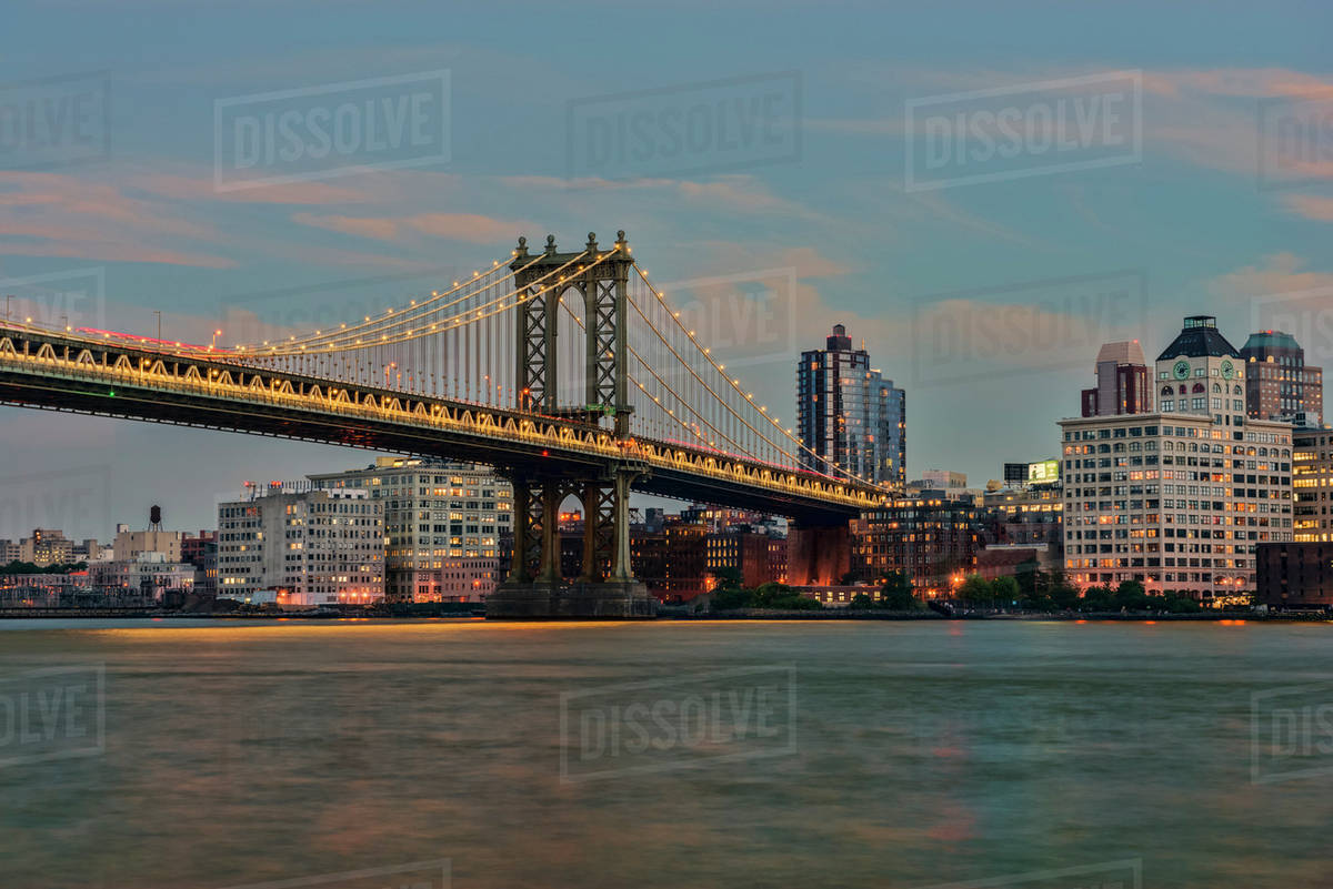 Manhattan Bridge At Sunset New York City New York City United