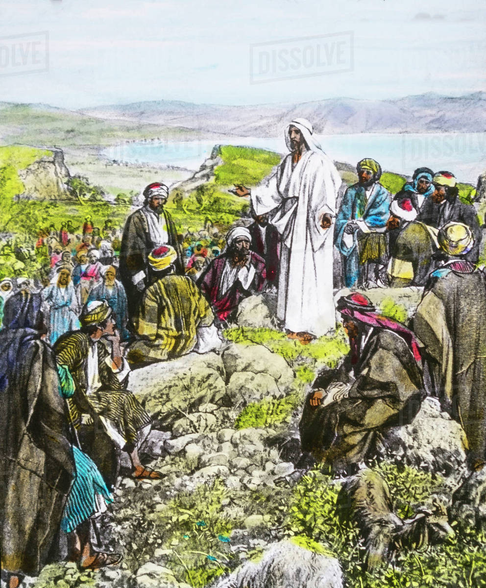 A Hand Coloured Magic Lantern Slide Circa 1900  Series The Life Of Jesus Of  Nazareth  The Sermon On The Mount and Seeing The Crowds, He Went Up The