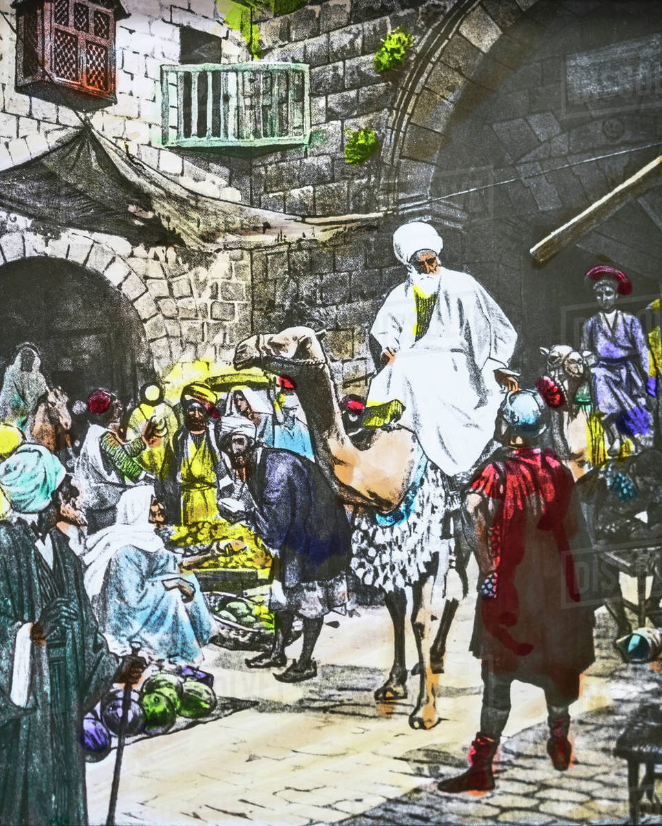 """A Hand Coloured Magic Lantern Slide Circa 1900  Series The Life Of Jesus Of  Nazareth  The Arrival Of The Magi In Jerusalem ( Three Kings )  """"now"""