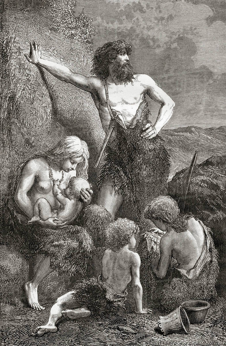 A Stone Age Family From L Homme Primitif Published 1870 Stock Photo Dissolve