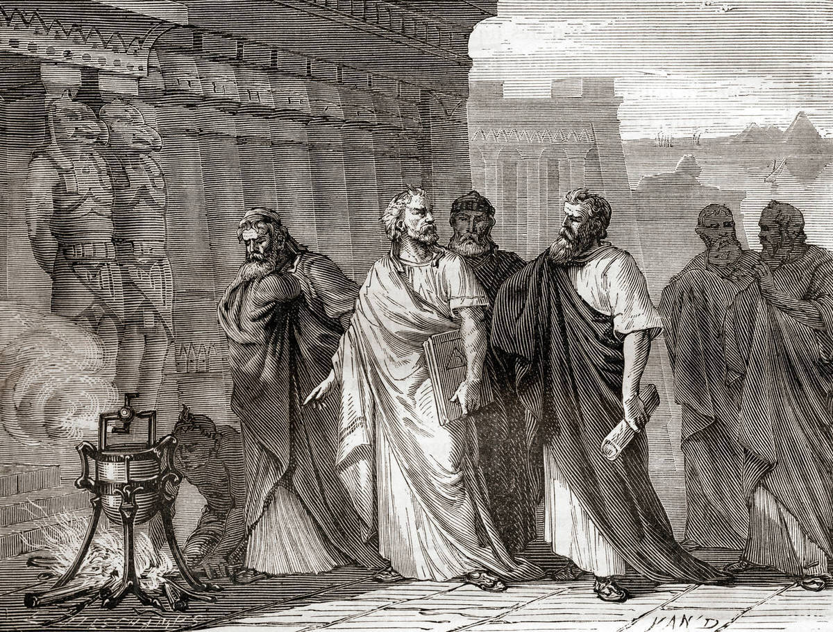 Hero demonstrating his aeolipile in front of the scholars of the school of Alexandria.  An aeolipile aka aeolipyle, eolipile, or Heron's engine, is a simple bladeless radial steam turbine which spins when the central water container is heated.  Hero of Alexandria, aka Heron of Alexandria; c. 10 AD – c. 70 AD.  Greek mathematician and engineer.  From Les Merveilles de la Science, published 1870. Rights-managed stock photo