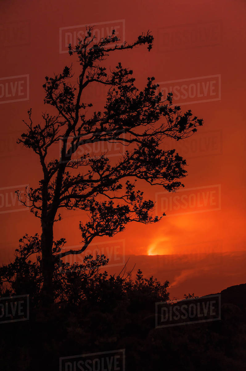 The Glow Of Pele Shines Through Clouds At Night At The Kilauea Caldera And  Halemaumau Crater In Hawaii Volcanoes National Park