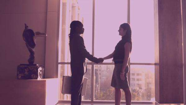 Man shaking hands with partner when meeting. Royalty-free stock video