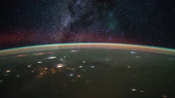 Timelapse of International Space Station ISS Milky Way star galaxy. Created from Public Domain images, courtesy of NASA JSC. Royalty-free stock video