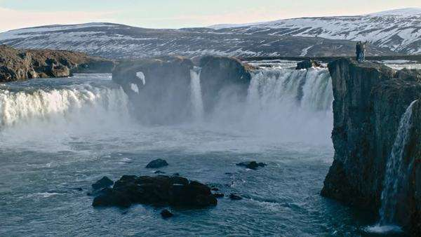 Godafoss waterfall famous Icelandic tourist attraction Nordic scenery travel winter travel view Royalty-free stock video