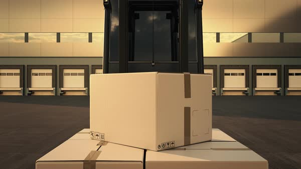 Forklift Loading Stack Of Boxes In A Delivery Truck Royalty-free stock video