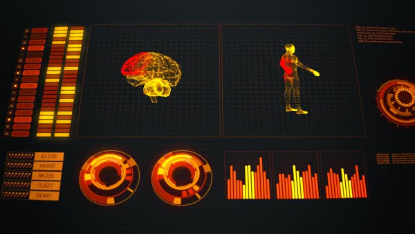 Futuristic Graphic User Interface. Human Body Scan Royalty-free stock video