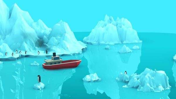 Boat moored near iceberg in ocean with penguins and fish undersea Royalty-free stock video