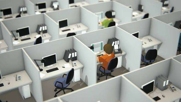 High angle view of working employees in cubicles with chairs and computers in office Royalty-free stock video
