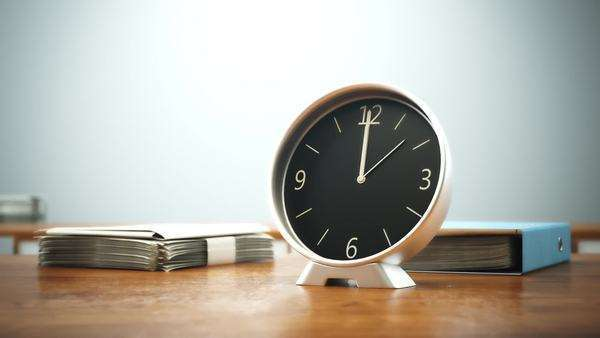 Timelapse clock with stack of paperwork finished in office hour Royalty-free stock video